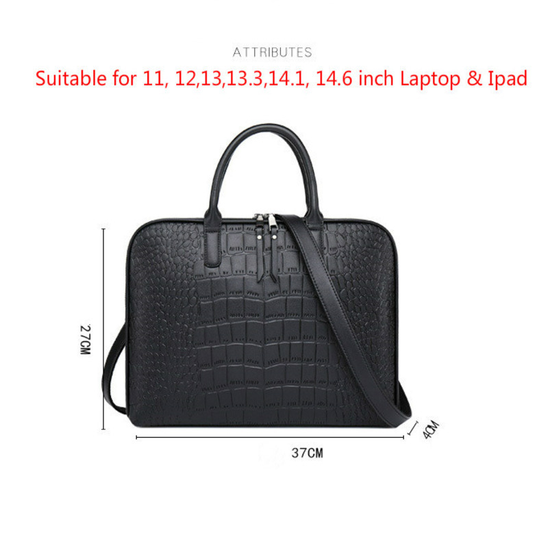 Image 5 - Business Women Briefcase Leather Handbag Woman Casual Totes 13.3 14 Inch Laptop bag Shoulder Office Bags For Ladies Briefcases