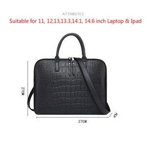 Image 5 - رجال الأعمال حقيبة جلدية حقيبة يد امرأة عادية Totes14.1 15.6 بوصة حقيبة لابتوب حقائب مكتبية الكتف للسيدات حقائب