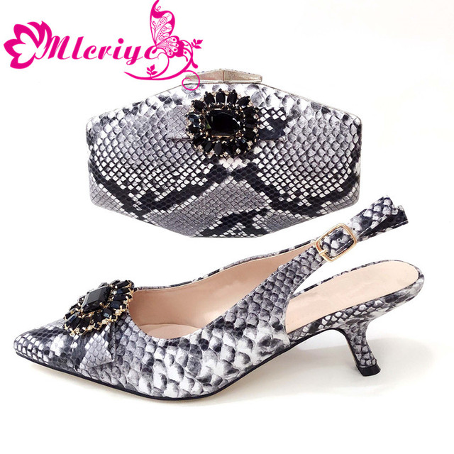 Platform gray Fashion2019 Shoes and Bag Set Decorated with Rhinestone Matching Italian Shoes and Bag for Wedding Nigerian Shoe