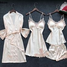 4 Pieces Women Pajamas Sets Satin Sleepwear Silk Nightwear Pyjama Spaghetti Strap Sleep