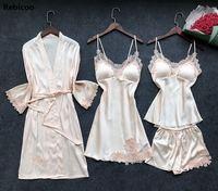 4 Pieces Women Pajamas Sets Satin Sleepwear Silk Nightwear Pyjama Spaghetti Strap Sleep Lounge Pijama with Chest Pads