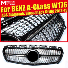 Fits For W176 Diamond Grills Grill ABS Black Without Sign A-Class A180 A200 A250 1:1 Replacement  Front Bumper Grille 2013-2015