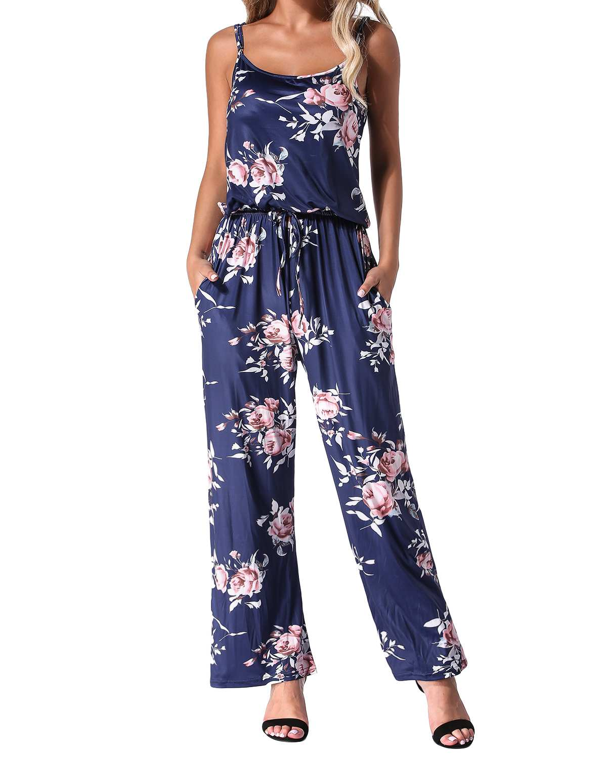 Summer Floral Print Rompers   Jumpsuits   Women 2019 Casual Straight Sexy Backless Long Wide Leg Pants Playsuits Pockets Bodysuits