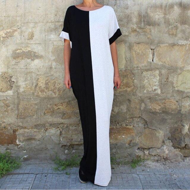 cee84ae8c4738d Farbe Blockiert Sommer Lange Kleid Frauen Boho Mode 2019 Lose Strand Maxi  Kleider Schwarz Weiß Patchwork