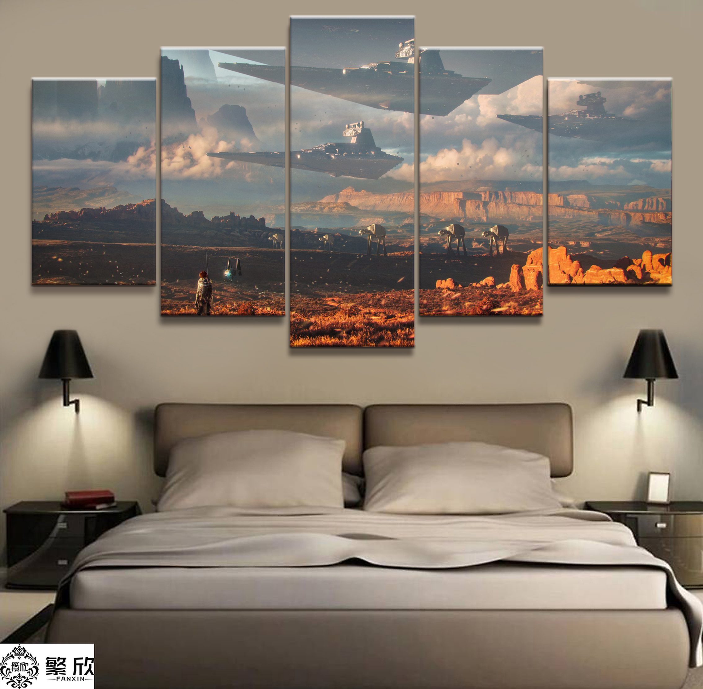 5 Pieces Painting Star War Movie Poster Modern Home Decor For Living Room Wall Canvas Print Pictures Painting Canvas Wholesale image