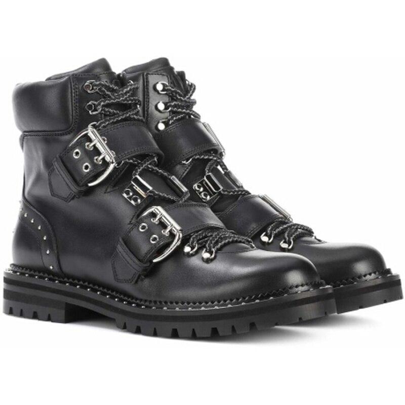Véritable Chaussures Métal Cheville Mode red En Fermoir Cravate Pour De Rivet Hiver Cuir Luxe Locomotive Black black 2018 Bottes Femmes tRwrtqP