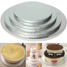 Silver Round Cake Thick Drum Board Stand Holder Strong Base For Wedding Birthday8/10/12/14inch for Wedding Cakes Professional(China)