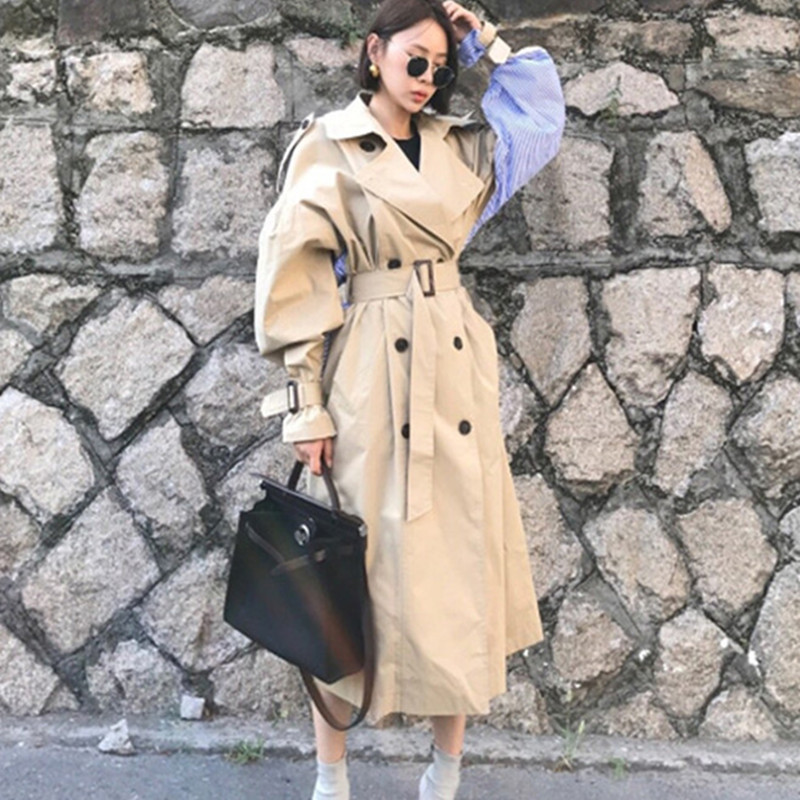 SHENGPALAE 2019 nouveau hiver coupe vent à manches longues col rabattu Patchwork rayé femmes Vintage manteau FL363-in Trench from Mode Femme et Accessoires on AliExpress - 11.11_Double 11_Singles' Day 1
