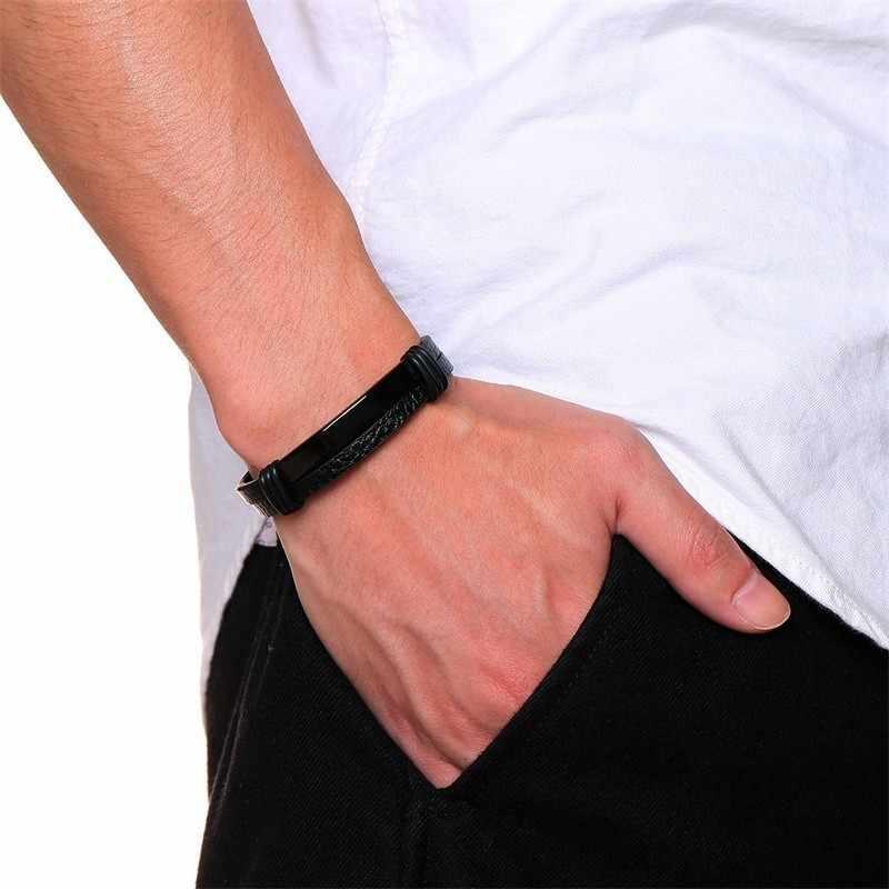 Casual Mens สร้อยข้อมือหนังสแตนเลสสตีล ID Tag Double ชั้น pulseira masculina 20.5 ซม.