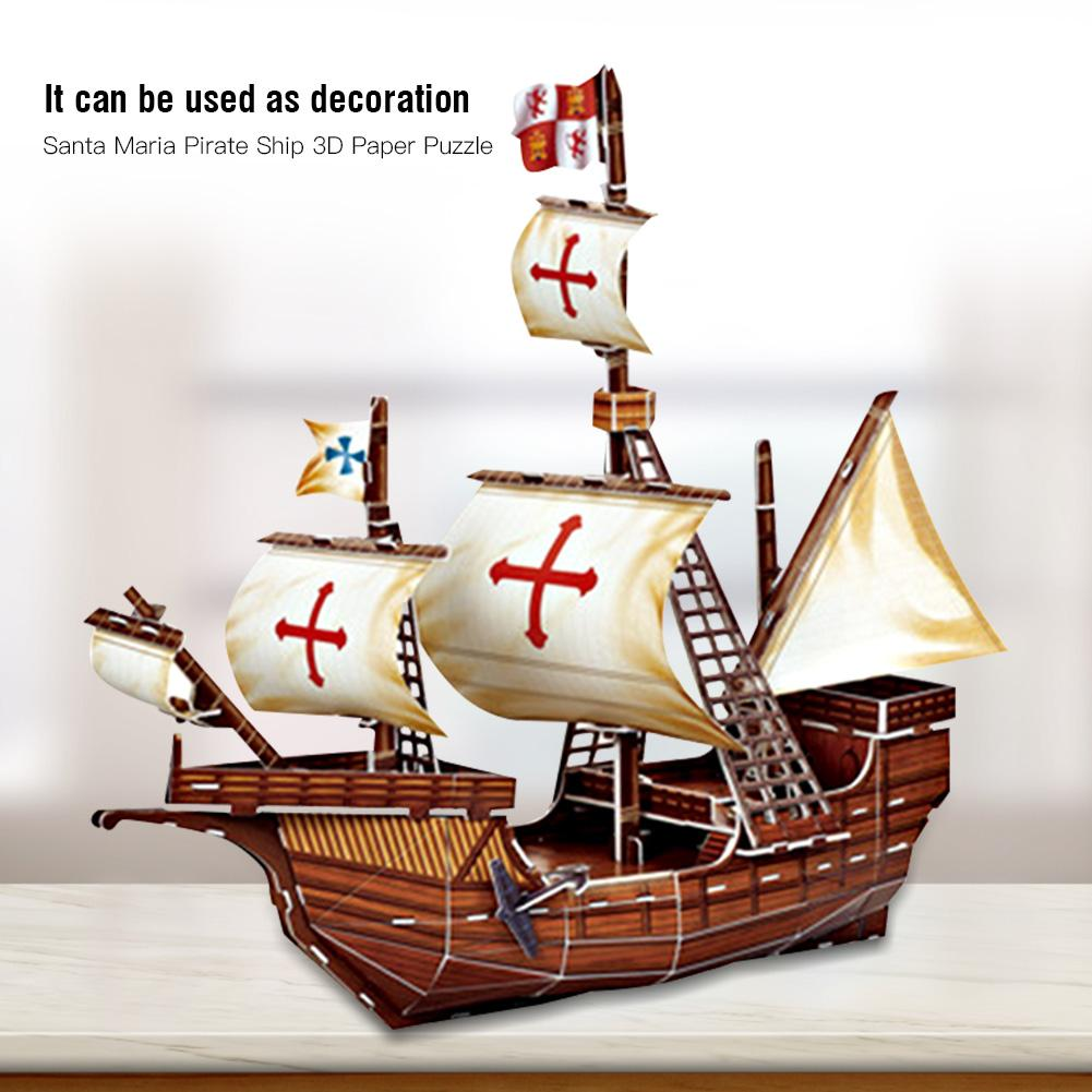 3D Paper Santa Maria Pirate Boat Assembled Model Simulation Toys For Kids Children Birthday Gift Educational Toys Paper Model
