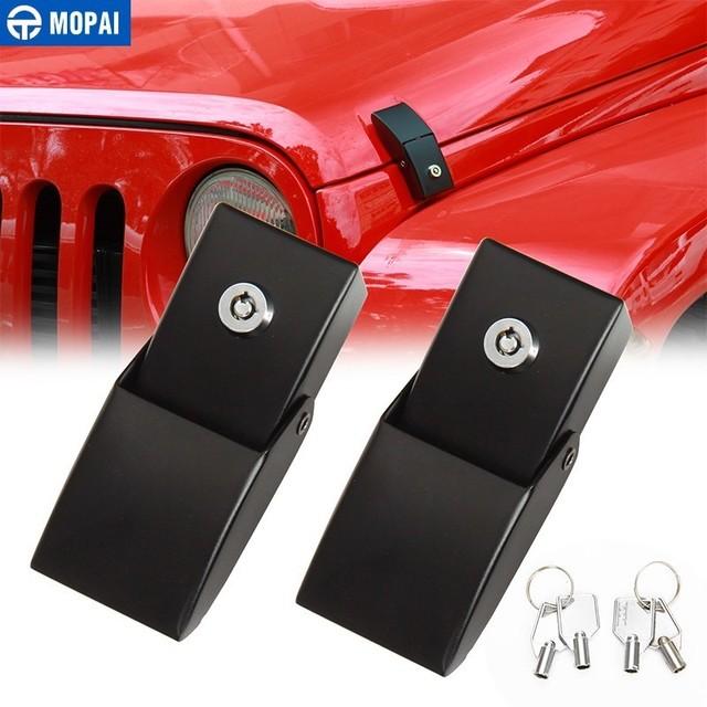 MOPAI Locks Hood for Jeep Wrangler JK 2007+ Car Engine Hood Latch Catch With Key Lock Kit for Jeep Wrangler JK Car Accessories