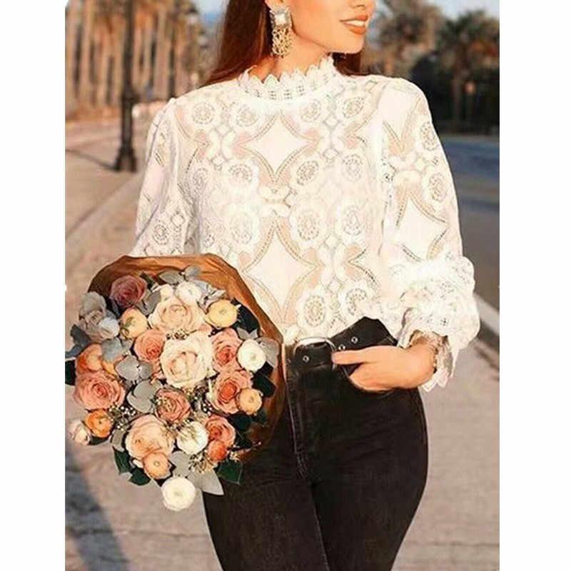 新しい女性の夏のファッションのレースのカットアウト高襟シャツ半透明ホーン長袖純粋な白スリムシャツサイズ S-XL