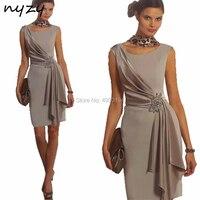 NYZY C41 Vestido Robe Cocktail Dresses Short Mini Asymmetrical Skirt Satin Dress for Wedding Party Graduation 2019