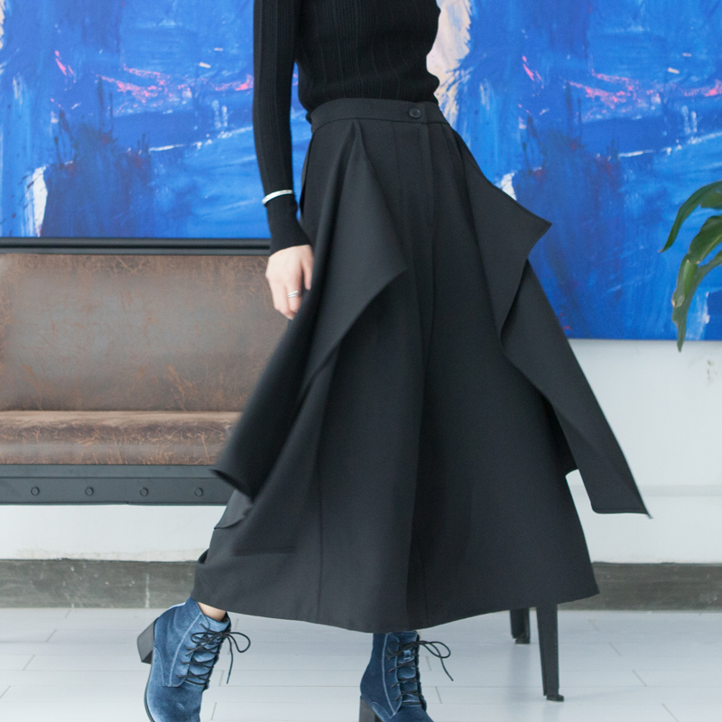 LANMREM 2019 Spring New Fashion Multilevel Irregularity Black Casual High Waist Trousers Female's loose   Wide     Leg     Pants   YF61501