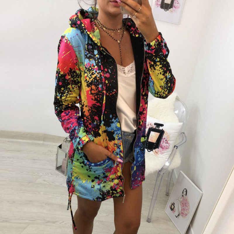 Thương Hiệu thời trang Mới Nhất của Phụ Nữ Dài Tay Áo Trùm Đầu Mực Vẽ Tranh Đầy Màu Sắc Áo Gió Parka Áo Outwear Quần Áo Mềm