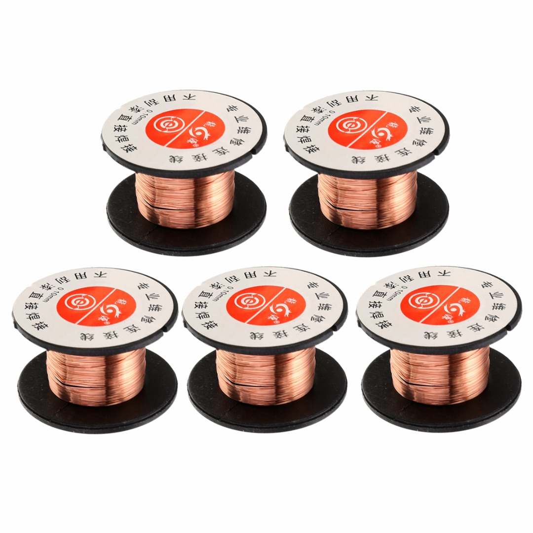 5pcs 0.1mm Copper Soldering Solder Welding Wire Reel PPA Enamelled Wire Repair Reel Welding Wire For Welding Repair Maintenance