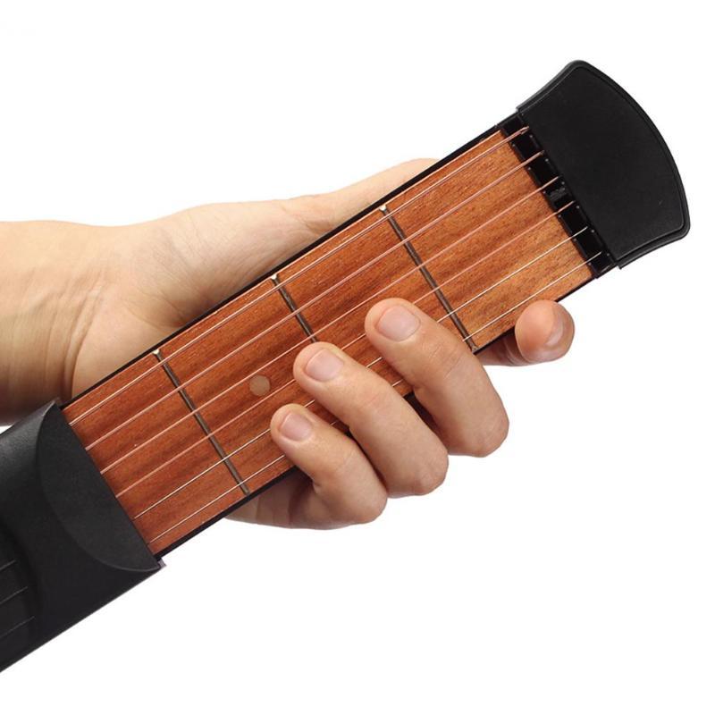2019 New 6 Fret Strings Practical Musical Instrument Pocket Guitar Practice Gadget Model with Bag Pick