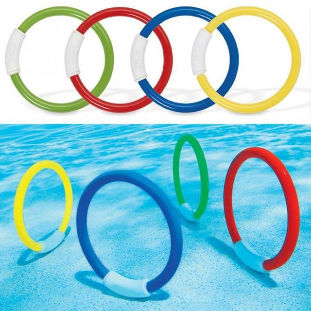 US $3.5 10% OFF|4PCS/Lot Dive Ring Swimming Pool Accessory Toy Swimming Aid  for Children Water Play Sport Diving Beach Summer Toy Kids Pool Fun-in ...
