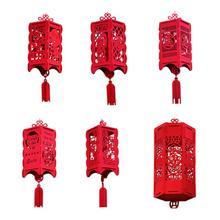 DIY нетканый войлочный материал китайский год фонарь Флокирование китайский год украшение китайский узел дворцовый фонарь