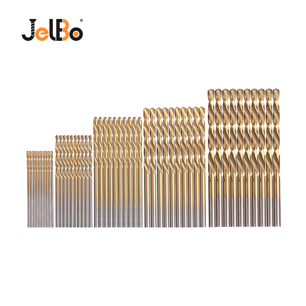 JelBo 50PCS 1/1.5/2/2.5/3MM HSS Titanium Coated Twist Drill Bits Set Power Drilling Tools Sheet Iron Woodworking Metal Tool