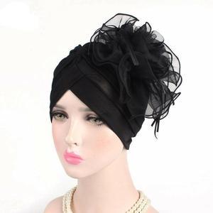Image 5 - Indian Women Muslim Retro Turban Hat Big Flower Bonnet Lace Hair Loss Head Scarf Wrap Caps Pleated Tassel Chemo Hat Beanies New