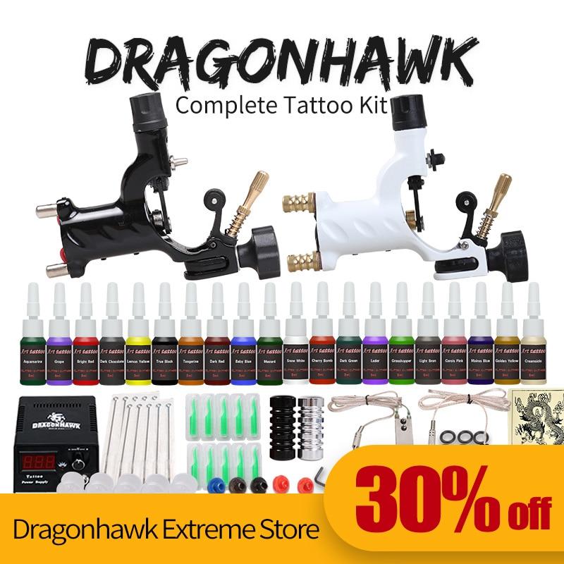 Kezdő tetováló készlet 2 gép 20 tintakészlet tápegységű tűk D175GD-6