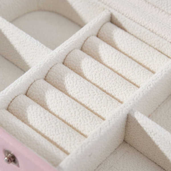 Caja de almacenamiento de joyería portátil para mujeres, organizador de viaje para niñas, pendientes rectangulares de 2 capas, collar de anillo, Estuche de transporte caja de regalo