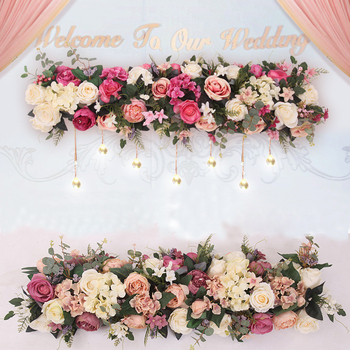 orchid artificial fllower row decor for DIY wedding iron arch platform T station Xmas background flower wall window decor props