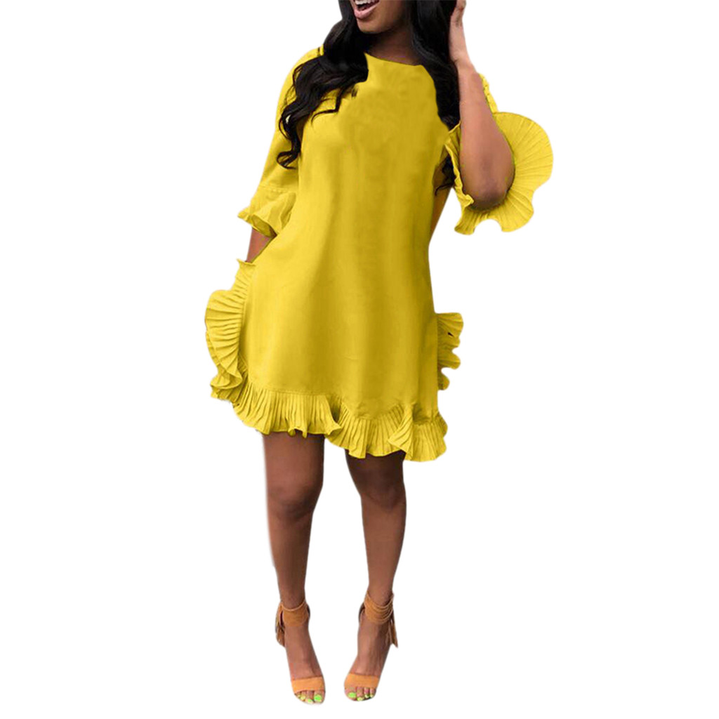 Feitong Summer Dress Women's Sexy Leisure Solid Color Pleated Irregular Ruffled Dress Vintage Party Night Dress Women