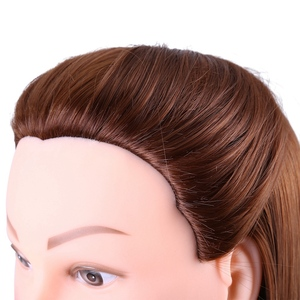 Image 5 - 24Inch Synthetic Training Mannequin Head Hairdressing Dolls Head Cosmetology Braiding Dummy Mannequin Heads Table Clamp Stand