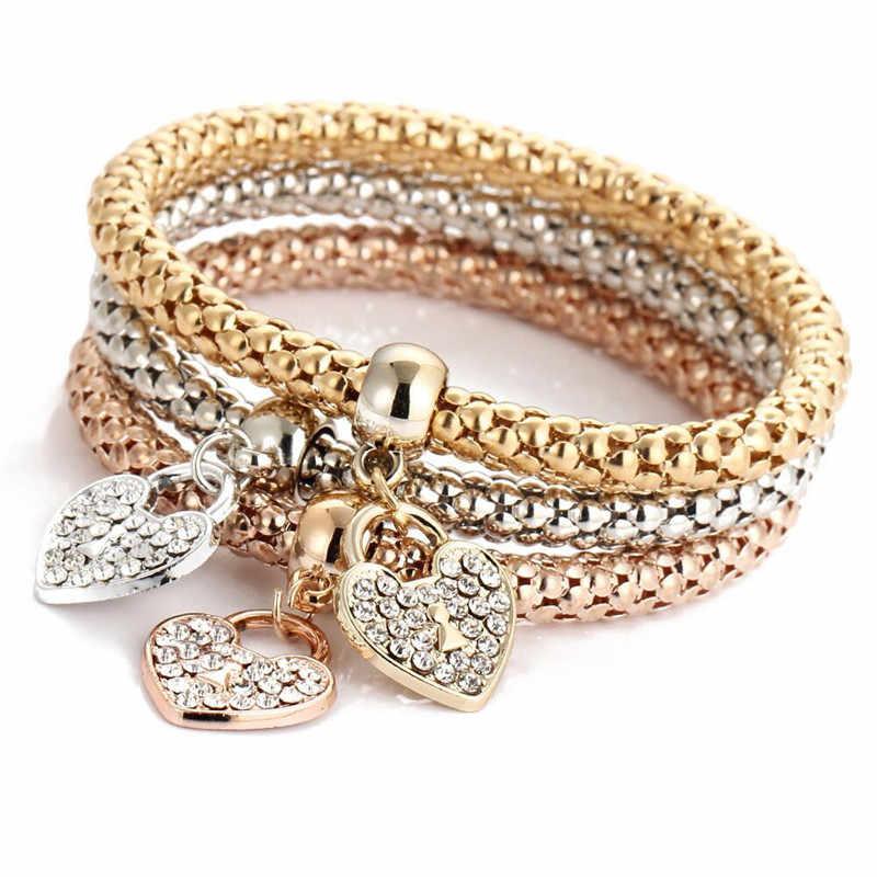 3 Pcs คริสตัลผีเสื้อสร้อยข้อมือผู้หญิงจี้อุปกรณ์เสริมผู้หญิงสร้อยข้อมือและกำไลเงิน Silver Rose Gold กำไลข้อมือหญิง fe