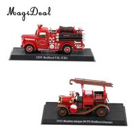 2PCS Diecast 1:43 fire engine truck 1939 UK Britain Bedford & SPAIN 1922 Bomba tanque 84 PS Delahaye Vehicle Model Toy Decor