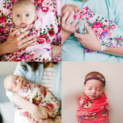 Cotton Newborn Baby Floral Swaddle Blanket Shawl Sleeping Bags Infant Kids Swaddle Muslin Wrap Headband 2Pcs Bed Clothes Set