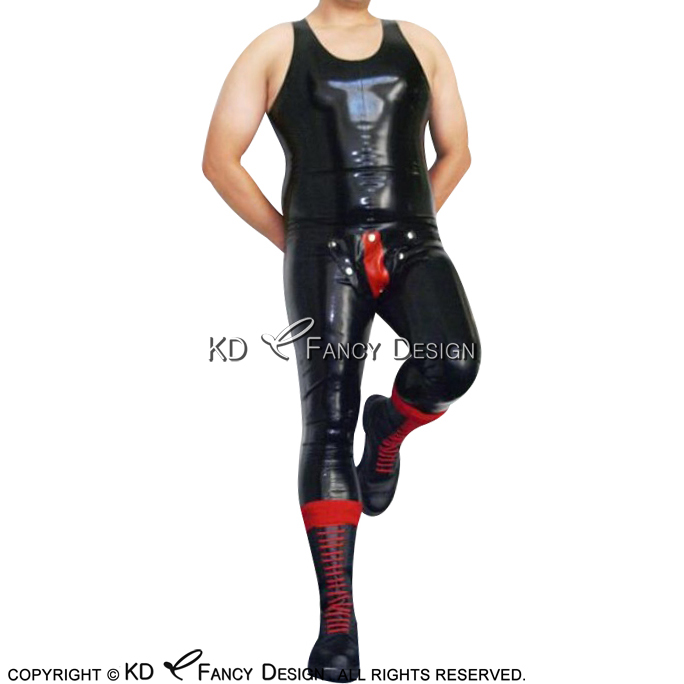 Black With Red Sexy Sleeveless Latex Catsuit With Codpiece Rubber Body Suit Bodysuit Zentai LTY-0265