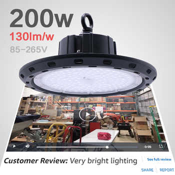 garage light workshop lamp circular lights on the field 200w high bay luminaria industrial construction lamp ufo led work light - Category 🛒 Lights & Lighting