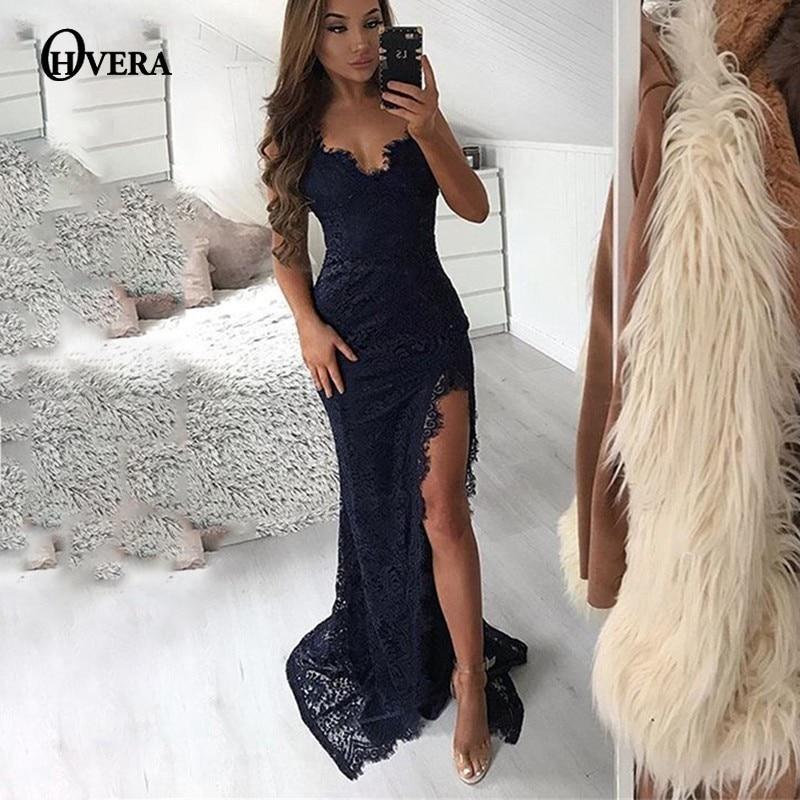 Ohvera High Split Backless Party Sexy Dress Women Spaghetti Strap Maxi Long Dress Summer Lace Dresses Elegant  Vestidos