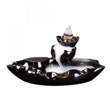 Backflow Incense Burner Ceramic Sticks Incense Holder Smoke Waterfall Aromatherapy Censer Meditation Use In Home Office Teahouse creative fly dragon incense burner bunker smoke waterfall incense burner incense cone sticks holder use in home office teahouse