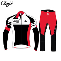 CHEJI заводская цена на заказ велоспорт одежда майка с длинными рукавами нагрудник длинные штаны осень зима велосипед Костюмы ветрозащитная