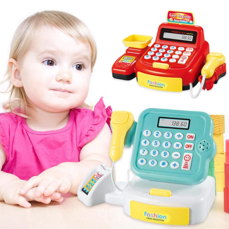 Simulated Supermarket Checkout Counter Role Cashier Cash Register Toy Kids Pretend Play Toys Electronic Toys for Children Gifts
