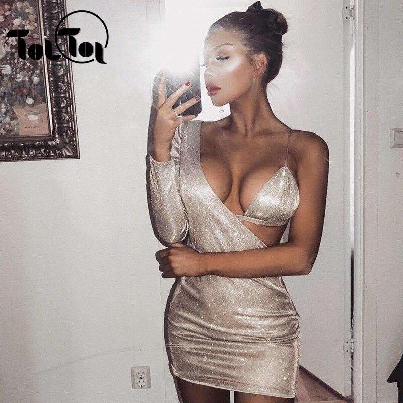 Backless Deep V Neck Bandage Dress Elegant Solid Color Clubwear Bodycon Dress Women Mini Sexy Dresses Vestidos