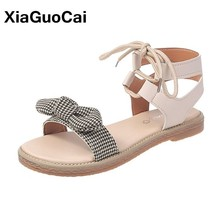 2019 Summer Women Shoes Female Sandals Bowknot Lace Up Flat Elegant Ladies Footwear Sweet Hot Sale New Arrival