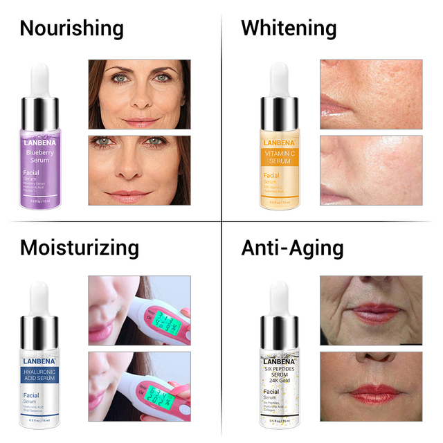 LANBENA Blueberry Hyaluronic Acid Serum Essence Oil Whitening  Reduces Fine Lines Anti-aging Anti Wrinkle Moisturizing Skin Care