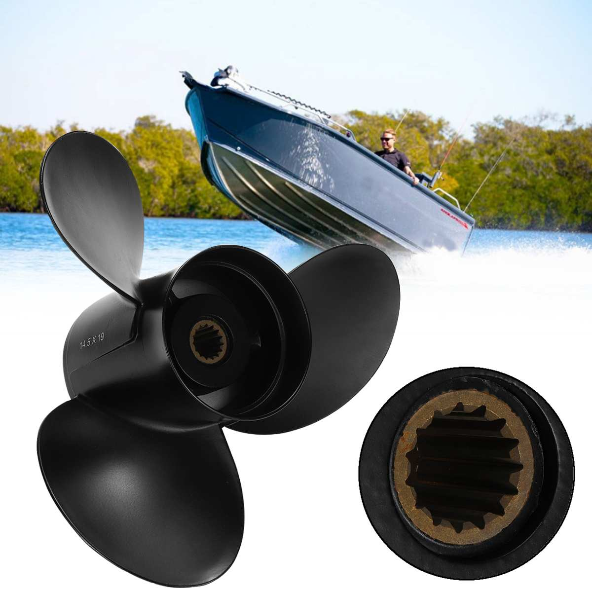 48-832830A45 Aluminium Alloy 14 1/2 x 19 Boat Outboard Propeller For Mercury Mariner 135-300HP Black 15 Spline Tooth 3 Blades48-832830A45 Aluminium Alloy 14 1/2 x 19 Boat Outboard Propeller For Mercury Mariner 135-300HP Black 15 Spline Tooth 3 Blades