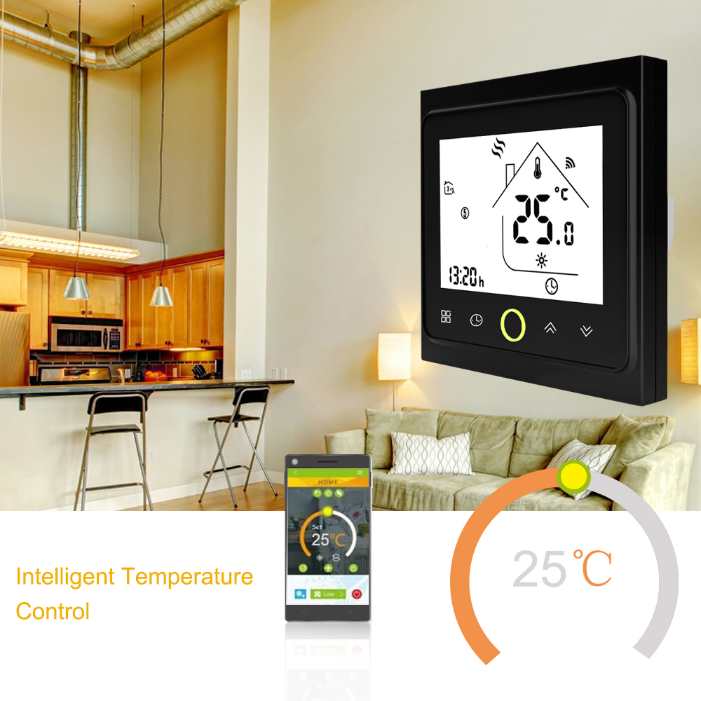 WiFi Thermostat with Touchscreen LCD Display Weekly Programmable Energy Saving Smart Temperature Controller for Gas Boiler