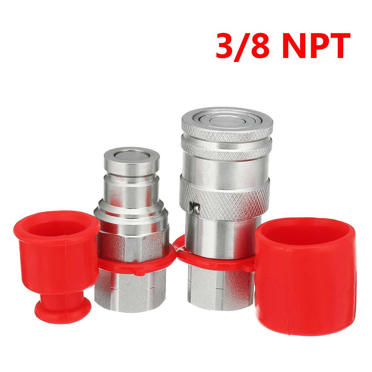 3/8 Inch NPT Face Hydraulic Male / Female Quick Connect Adapter Coupler Coupling Set for ISO16028 with PVC Protective Cover3/8 Inch NPT Face Hydraulic Male / Female Quick Connect Adapter Coupler Coupling Set for ISO16028 with PVC Protective Cover