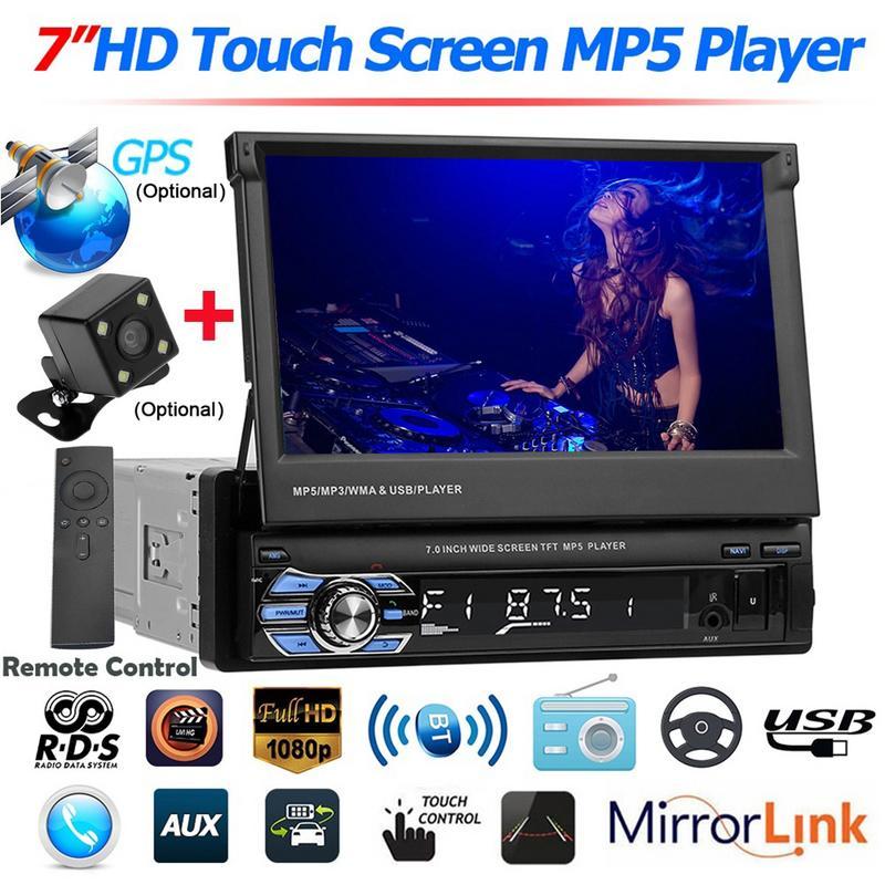 7 pouces autoradio stéréo 1 Din écran rétractable caméra arrière stéréo RDS FM GPS Navigation écran tactile Bluetooth miroir lien