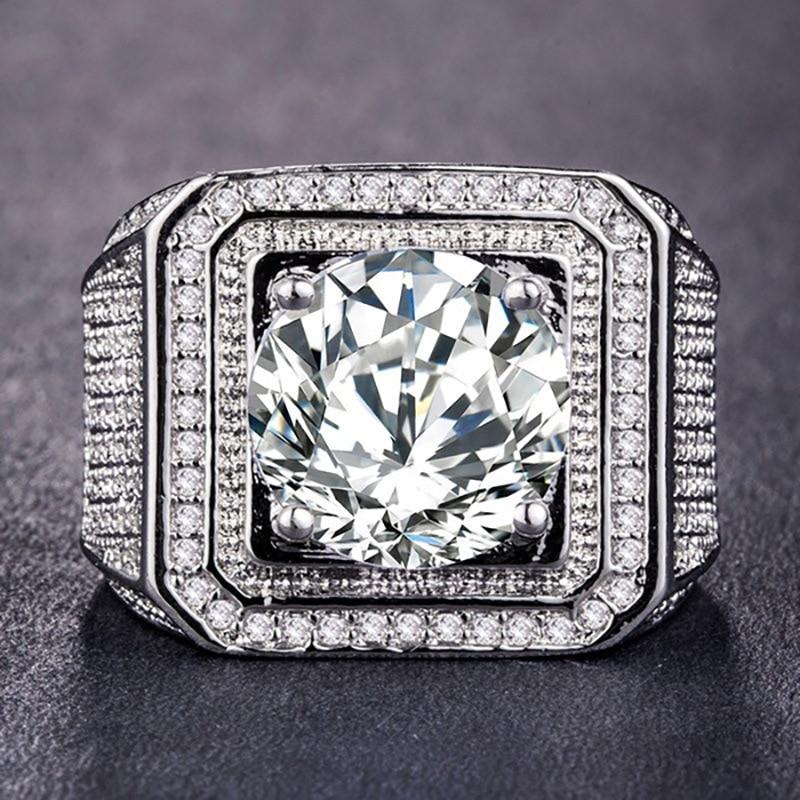 Hip Hop Luxury Square Princess Crystal Rings Cut Large Stone Bague Birthday White Rock Crystal Bizuteria Men Jewelry Gemstone