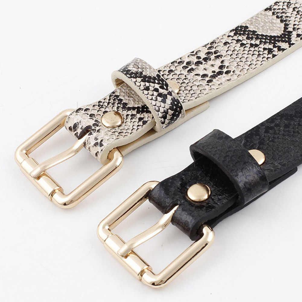 Модные женские ремни из искусственной кожи со змеиным узором, с тонкой талией, длиной 105 см, регулируемый пояс, платье для джинсов декоративные пряжки