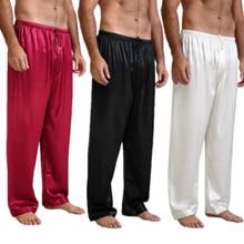 Мужские шелковые атласные пижамы, пижамные штаны, штаны для отдыха, штаны для сна, размеры s-xl плюс