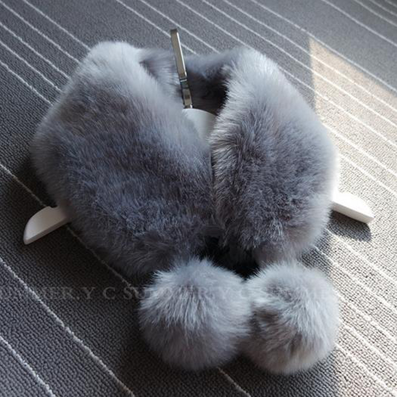 9 Colors 56CM*12CM Faux Fur Collar Solid Winter Scarf Female Handmade Rabbit Fur Scarf Women Winter Fur Wraps Ring Scarves 2019